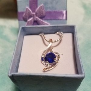 🤩 Dazzling Sterling Silver Sapphire Necklace 🤩